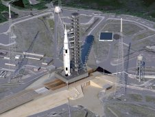 Artist concept of SLS on launch pad