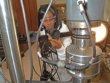 Ebonni Adoms recording the images of composite laminate's edge cracking and delamination.