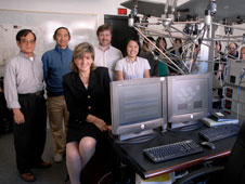 Dr. Chivey Wu, Dr. Helen Boussalis, Dr. Darrell Guillaume, Dr. Trinh K. Pham and SPACE Center students at the SPACE Laboratory.