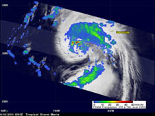 NASA's TRMM satellite flew over Tropical Storm Maria on September 15, 2011