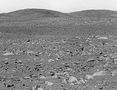 The Columbia Hills, as seen from the Spirit rover.