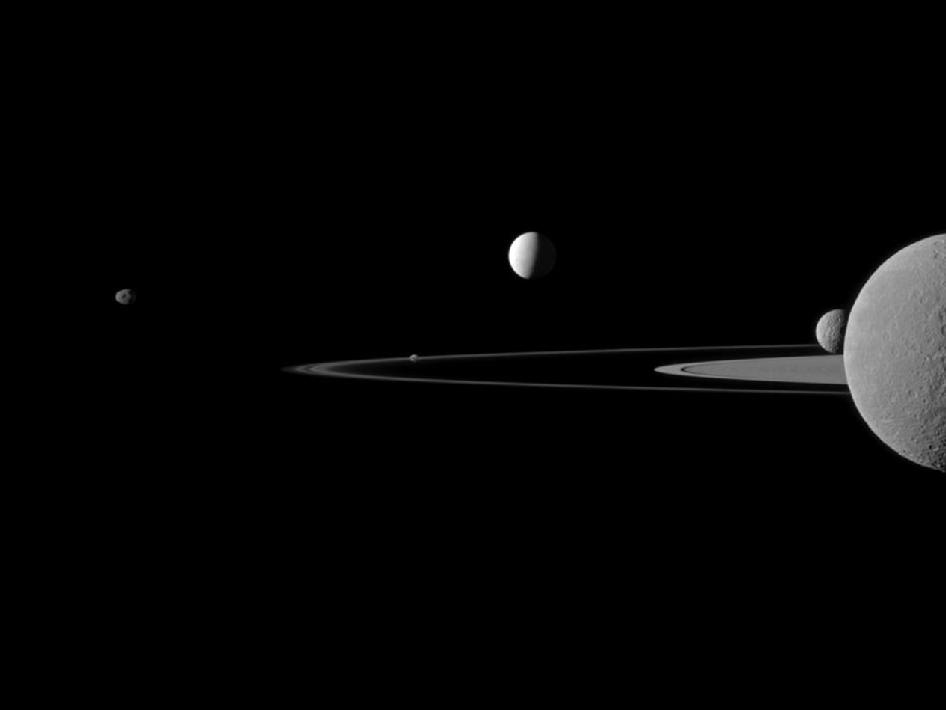Quintet of Saturn's moons
