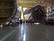 Saturn stages in a large-bay building