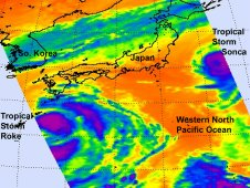 This infrared image from AIRS shows Tropical Storm Roke (left) and Tropical Storm Sonca (right).