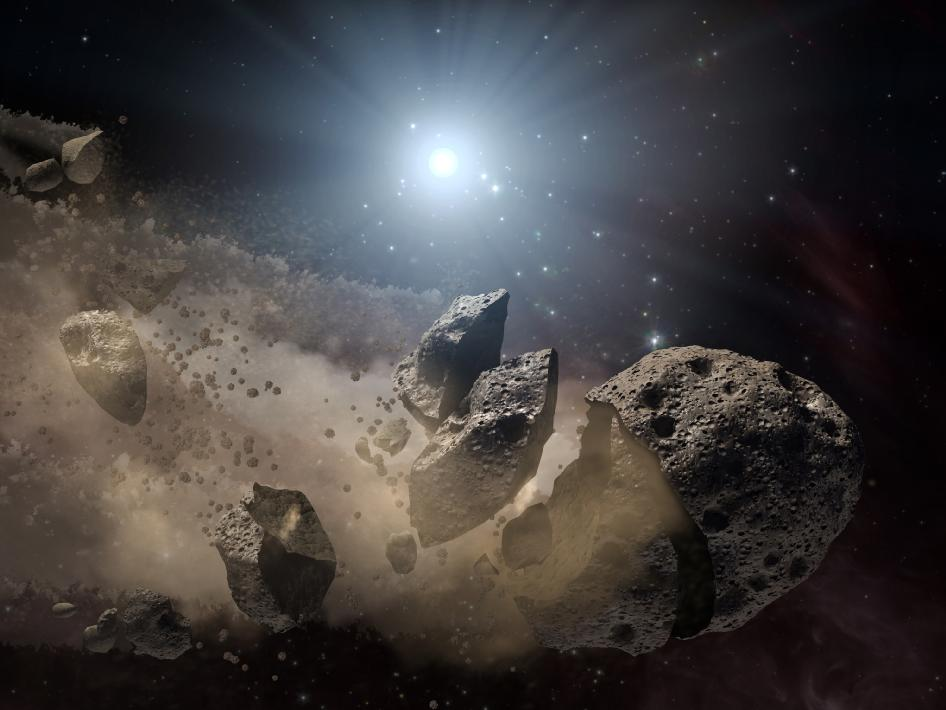 Artist's concept shows a broken-up asteroid
