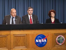Waleed Abdalati, NASA chief scientist (left), Mark Uhran, NASA assistant associate administrator for the International Space Station (center) and Jeanne Becker, Center for the Advancement of Science in Space (CASIS) executive director (right).