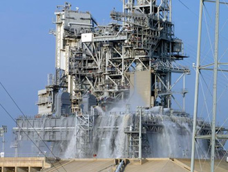 View of entire launch pad during Water Sound Suppression System test