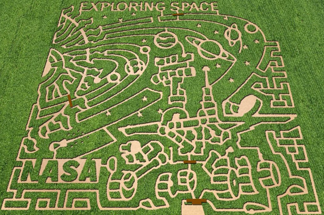 A corn maze with a NASA theme, at Cornbelly's in Lehi, Utah, one of seven around the US in 2011. Image courtesy of The MAiZE Inc.