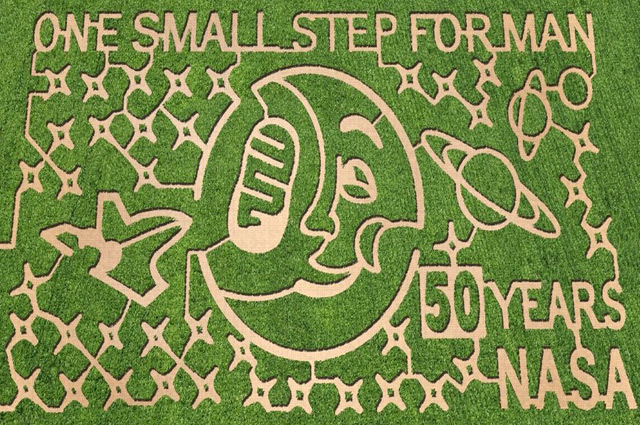 NASA-themed corn maze at Dewberry Farm in Brookshire, Texas. Image courtesy of The MAiZE Inc