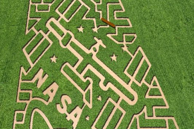 Corn maze at Vala's Pumpkin Patch in Gretna, Nebraska. Image courtesy of The MAiZE Inc