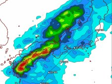 This rainfall map was created from TRMM satellite data from Sept. 15 to 22, 2011 over and around Japan.