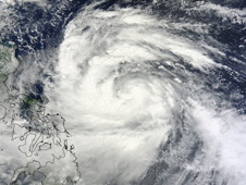 This visible image of Typhoon Nesat was captured by MODIS on Sunday, Sept. 25 at 2:40 UTC.