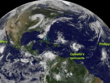 This GOES-13 satellite image from Sept. 26 Ophelia east of the Leeward Islands and Philippe in the far eastern Atlantic.
