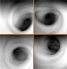 Venus Express infrared view of vortex over Venus' south pole at different times