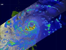 On Sept. 26, 2011, Typhoon Nesat's heaviest rainfall was occurring from southwest to southeast around the storm's center.