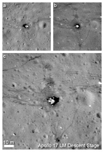 Resolution comparison between nominal orbit images of the Apollo 17 landing site