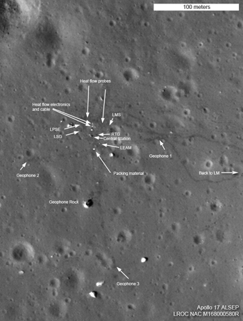 Apollo 17 ALSEP area, north is up