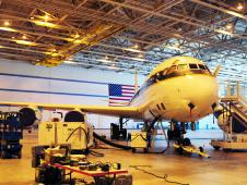 NASA's DC-8 undergoes integration of science instruments at Dryden.
