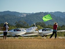 The Pipistrel Penn State University, Taurus G4 aircraft prepares to takeoff for the miles per gallon flight during the 2011 Green Flight Challenge competition.