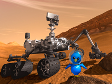 Artist concept of Curiosity rover and astronaut bird.