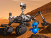 Artist concept of Curiosity rover and astronaut bird
