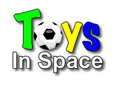 Words Toys in Space with a soccer ball used as the o in Toys