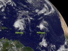 GOES-13 captured Ophelia (left) and Philippe (right) in one image on Sept. 29, 2011 at 10:45 a.m. EDT.