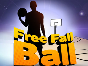 A silhouette of boy holding a ball with the words Free Fall Ball