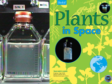 Plants In Space experiment on the International Space Station and cover page of Plants In Space educator's guide.