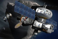 Artist concept of spacecraft exploring asteroid.