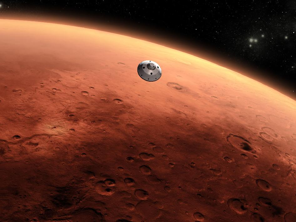 Artist's concept of NASA's Mars Science Laboratory spacecraft approaching Mars