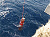 The SOLO-TREC autonomous underwater vehicle is deployed off the coast of Hawaii