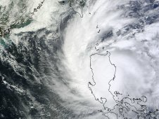 MODIS captured a visible image of Typhoon Nalgae over the Philippines on Oct. 1 at 03:00 UTC.