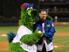 STS-135 Commander Chris Ferguson and Philly Phanatic