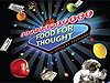 Fruit, space food packets and a spacewalking astronaut float around a 'Food for Thought' sign in space