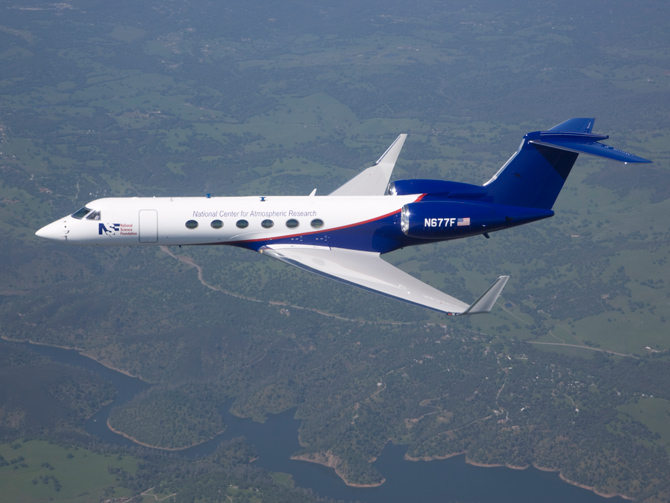The NSF/NCAR Gulfstream V research aircraft in flight