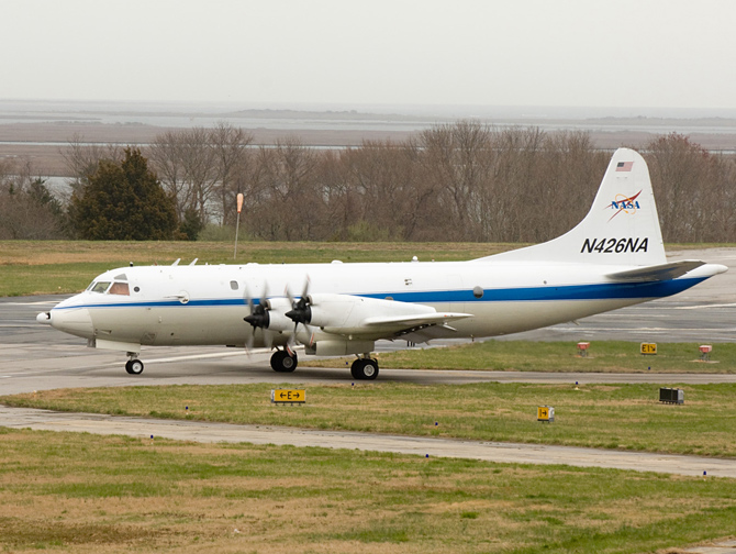 NASA's P3B prepares for takeoff from the Wallops Flight Facility.