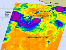 Infrared image from AIRS shows the birth of Tropical Storm Irwin and Tropical Depression 10E.