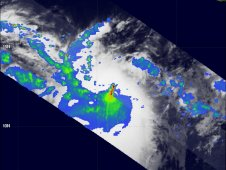 On Oct. 7, TRMM noticed areas of heavy rainfall (2 inches/50 mm/hr) around the center with