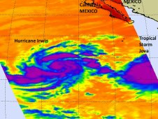 Infrared image of Hurricane Irwin was taken by AIRS on Oct. 6 at 5:05 p.m. EDT.
