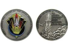 Front and back of the Space Shuttle Commemorative Award Medallion