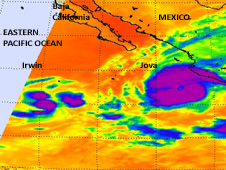 This infrared image of spotty cold cloud tops in Tropical Depression Irwin (left) was taken from the AIRS instrument on NASA's Aqua satellite on Oct. 11 at 4:53 a.m. EDT.