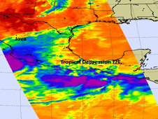 This infrared image shows Hurricane Jova over the Mexican coast, and farther to the southeast is System 99E