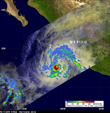 rainfall map of hurricane Jova off the west coast of Mexico