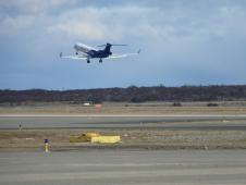 The G-V aircraft takes off from Punta Arenas, Chili on its fourth science flight.