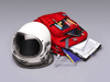 A spacesuit helmet next to a backpack filled with school supplies