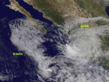 Satellite image of Irwin and Jova