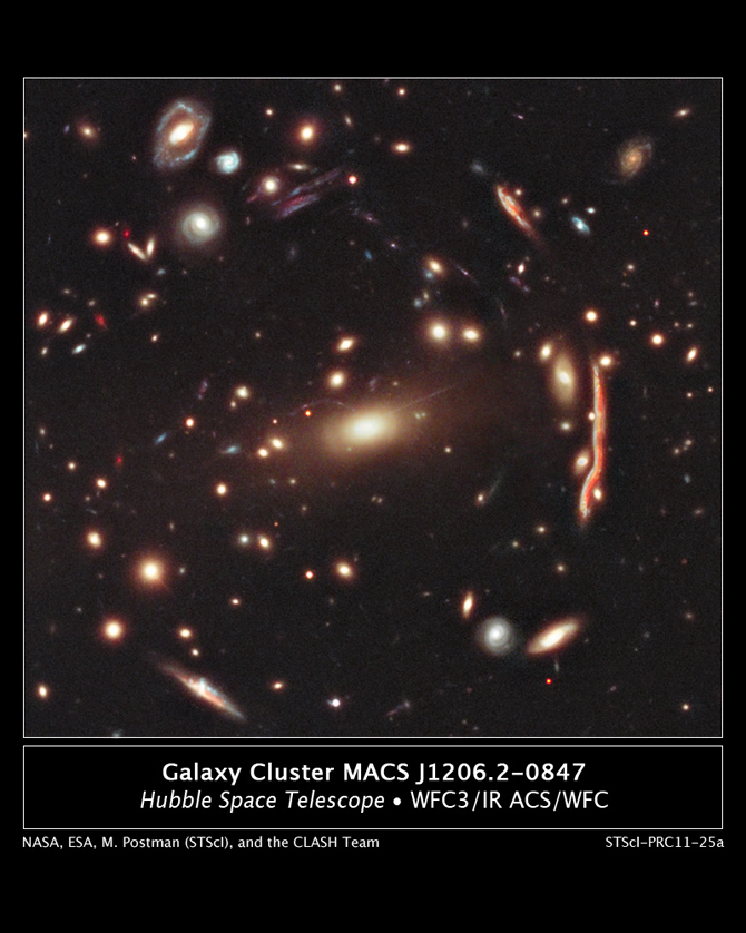 Galaxies are distorted by dark matter in this hubble image of cluster MACS 1206