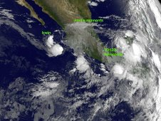 This GOES-11 image shows Tropical Depression Irwin, the remnants of Jova, and Tropical Depression 12E.