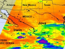 This AIRS infrared image shows Tropical Depression Irwin (left) and the remnants of Jova over southwestern Mexico (right).